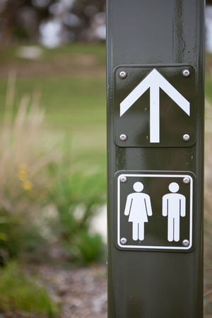 Male and Female Toilet Sign Bokeh