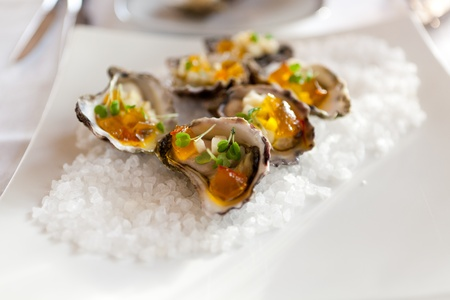 entrees: Coffin Bay Oysters Saffron  Jelly Diced Apple