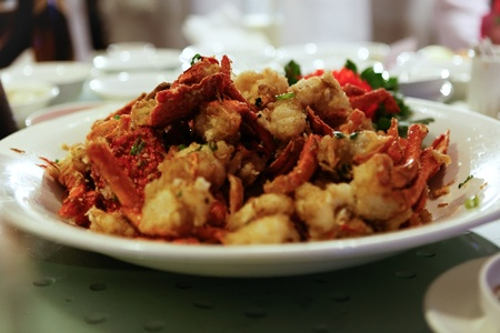 Platter of Fried Chilli Lobsters Stock Photo - 12803321