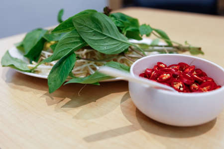 Basil, Bean Sprout and Chilli