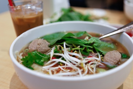 Vietnamese Rare Beef Noodle Soup Pho photo