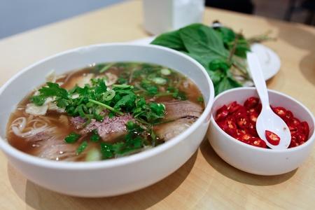 asian noodle: Vietnamese Beef Noodle Soup Pho Chilli