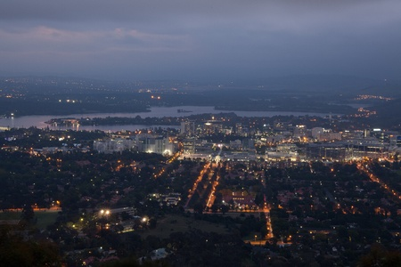 Mt Ainslie Lookout Canberra City at Night Stock Photo - 12803588