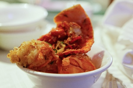 Fried Salt and Chilli Lobsters Pieces in Bowl