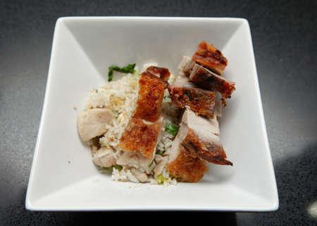 Fried Rice Roast BBQ Pork Two Rows