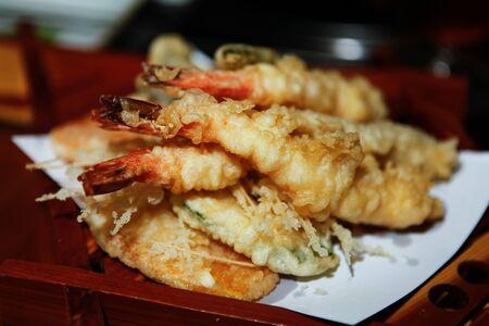 Prawn Shrimp Vegetable Tempura Stock Photo