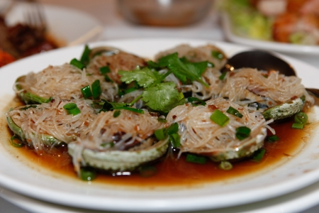 Eight Live Abalone Vermicelli Stock Photo