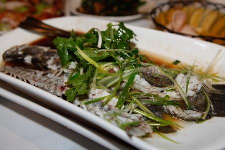 Chinese Steam Fish Coriander Shallot Stock Photo