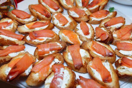 faced: Smoked Salmon Bruschetta (Brushetta) Stock Photo
