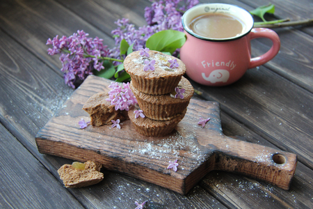 Breakfast of muffins and coffee Stock Photo