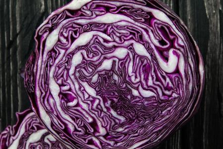 cut fresh purple cabbage