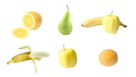 A variety of fruits in the same collection on a white  photo