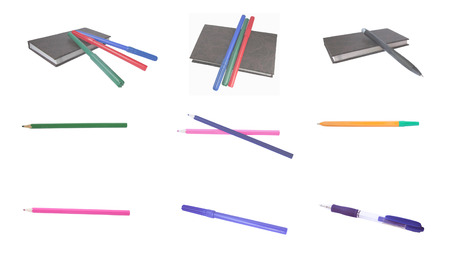 A collection of stationery on a white background photo