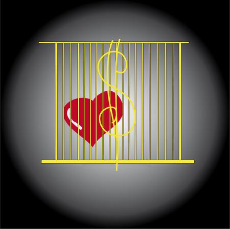 ligotage: Coeur rouge enferm� dans une cage dor�e cupidit�, l'argent et le pouvoir Illustration