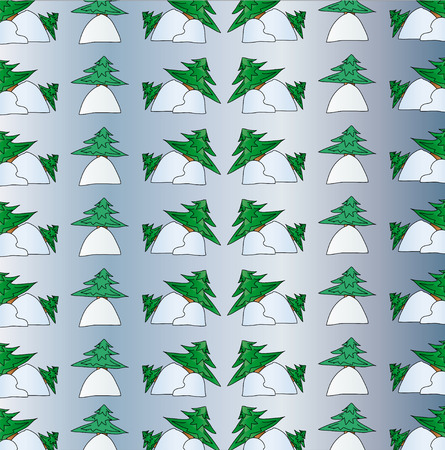 Green spruce in the snow drifts. Christmas background. Illustration inspired by nature Vector