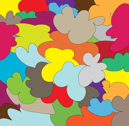 interweaving: Many colored spots, various complex shapes for a bright background Illustration