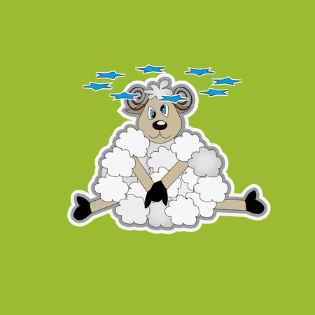 dizziness: Stars above the head of the lamb. The image of a cute little lamb on a green background.