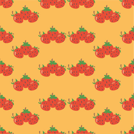 Pattern made of small fun strawberries on orange background