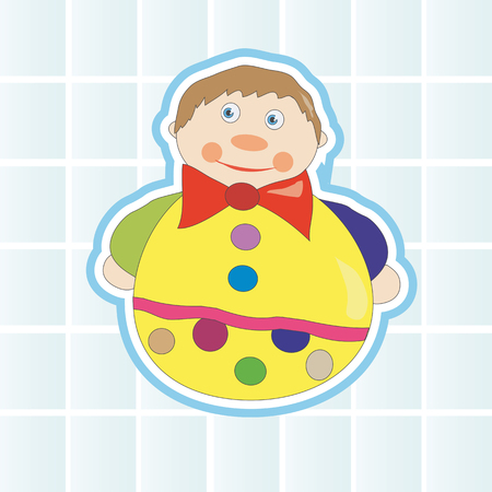 Children cheerful, bright toy Nevalyashka on a blue background of rectangles Vector