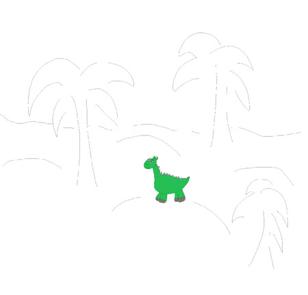 denoted: The image of the little green dinosaur in the background symbolically denoted by palm trees and mounds Stock Photo