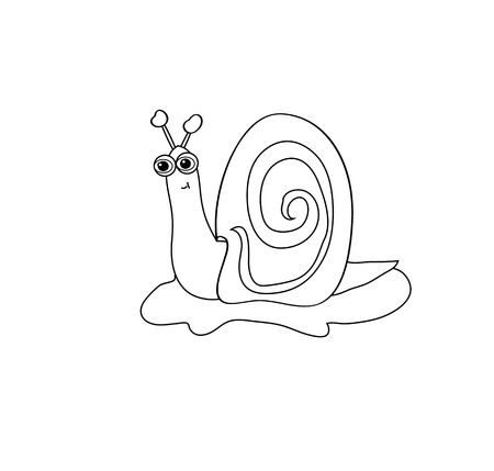 invertebrate: The image of the contour fun, cute snail on the grass. Option for coloring.