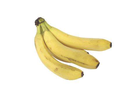 overripe: Bunch of ripe, slightly overripe bananas on white background Stock Photo