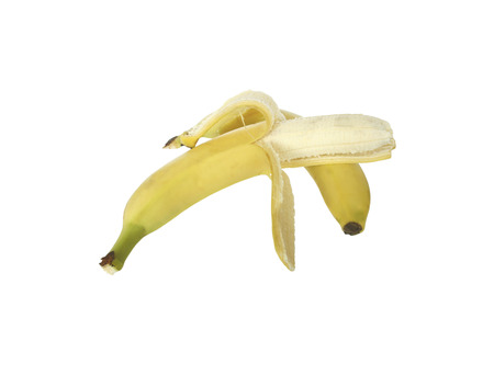 purified: Two ripe banana, one of which is a purified, isolated on white background