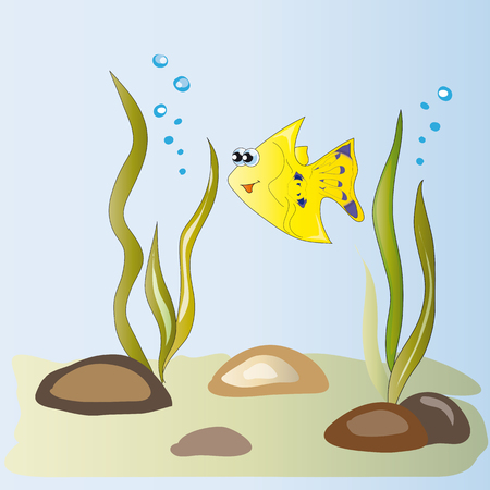 cute little yellow fish among algae and Puzikov air Vector