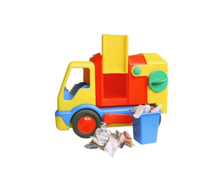 newsprint: Toy truck with a container full of torn newsprint, on a white background Stock Photo