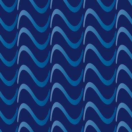 Wavy graphic background. A pattern made of simple waves on blue .