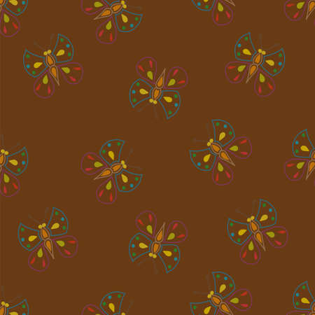 Seamless pattern for the background, composed of small colorful butterflies Vector