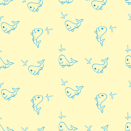 Seamless pattern for the background, made of small whale cartoon Illustration