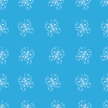 flit: Seamless pattern made of small butterflies on a blue background