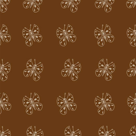 Seamless pattern made of small butterflies on brown background Illustration