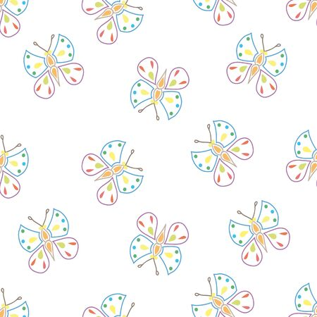 flit: Seamless pattern made of small butterfly on white background