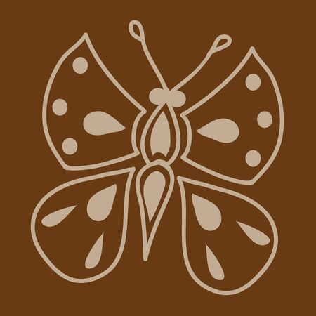 to flit: The outline of the butterfly, performed on a brown background. A part of the pattern or the main object. Illustration