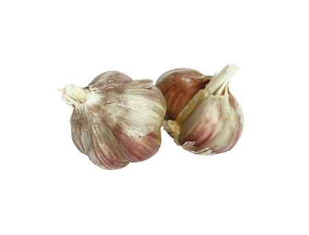 two heads: Two heads of the old dry garlic on a white background Stock Photo