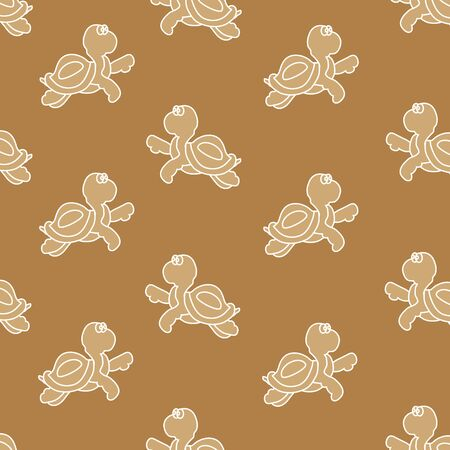 Seamless ornament, composed of small solid turtles on brown background Vector
