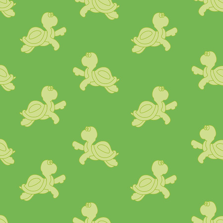Seamless ornament, composed of small solid turtles on a green background Vector