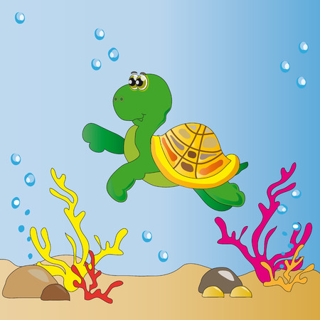 An image of a large sea turtles among corals and air bubbles Vector