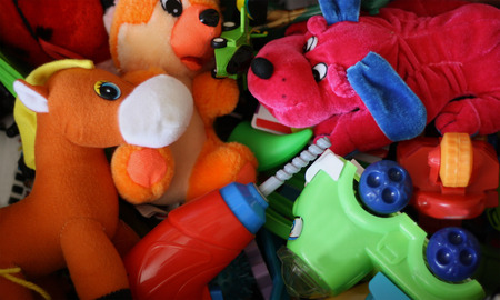 car lots: Baby different toys collected together in one pile