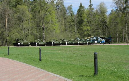 guerrilla warfare: The memorial partisan glade (Russia, Bryansk region). The exhibition of military equipment under the open sky.