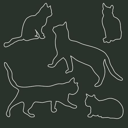 character traits: Collection of outlines of the silhouettes of cats in different poses on a dark background