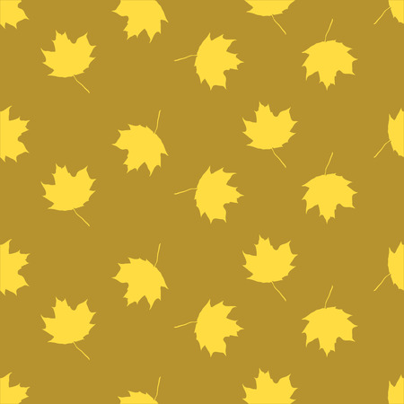 fall about: Seamless ornament for background, composed of yellow maple leaves
