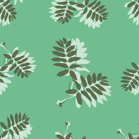 budding: Seamless pattern made of leaves on a green background Illustration
