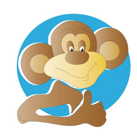 upraised: A monkey with upraised thumb. The image in the blue circle.
