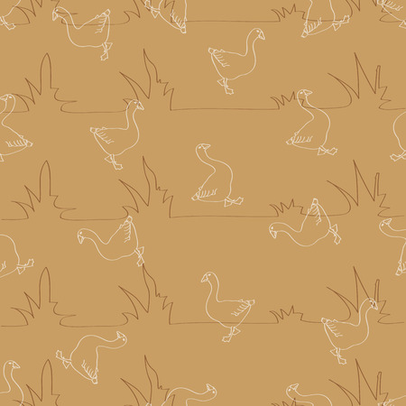 geese: Seamless pattern for background, composed of stylized grass and lots of geese