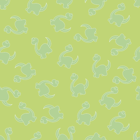 paleontologist: Seamless ornament for background, composed of silhouettes of little green dinosaurs on a green background