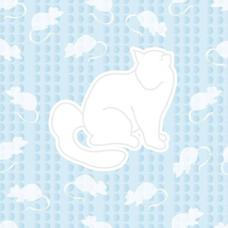 lots: seamless ornament. composed of cat and lots of little mice around him. the design on the blue background. Illustration