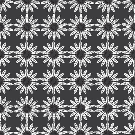 composed: Seamless pattern composed of circular repetitive flowers.